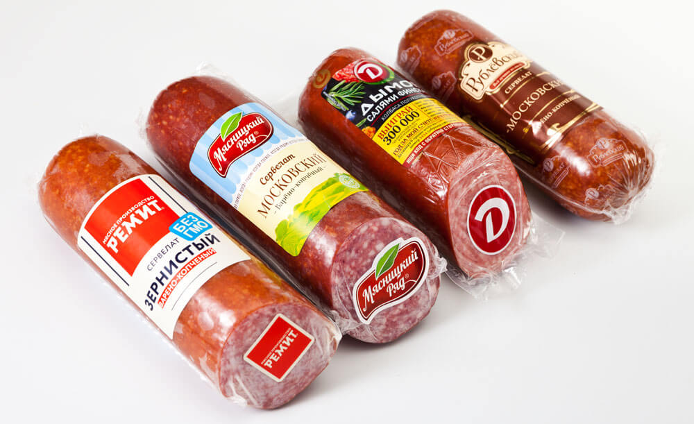 Этикетки на колбасу методом флексопечати